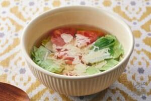 ちぎりキャベツとトマトのチーズスープ(キャベツ+トマトを使ったレシピ)