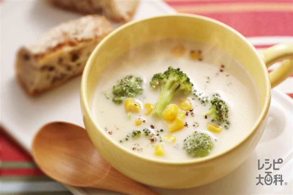 ブロッコリーとコーンのミルクスープ(ブロッコリー+ホールコーン缶を使ったレシピ)