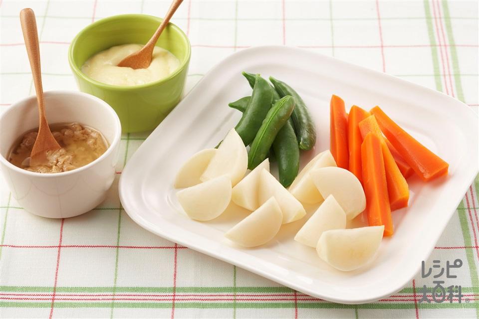 温野菜サラダ アンチョビガーリック&チーズマヨソース(かぶ+にんじんを使ったレシピ)