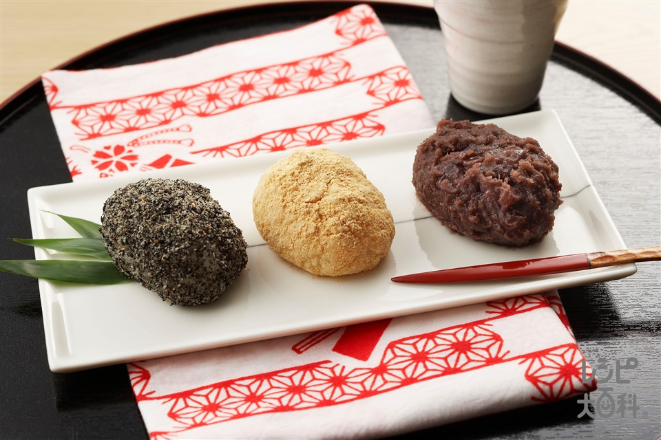 三色おはぎ(もち米+粒あんを使ったレシピ)
