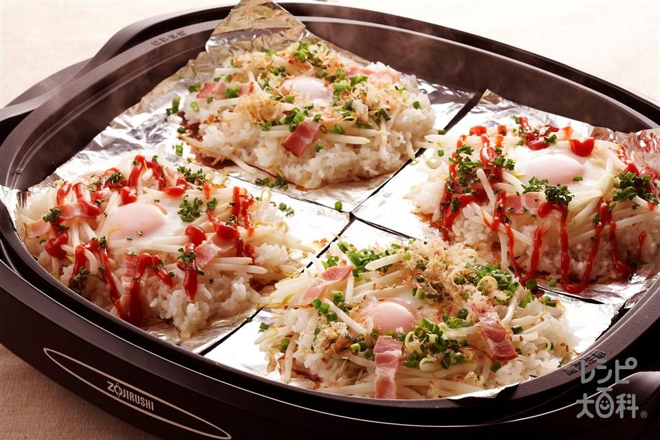 ベーコンともやし・卵の菜愛蒸しご飯(もやし+ご飯を使ったレシピ)