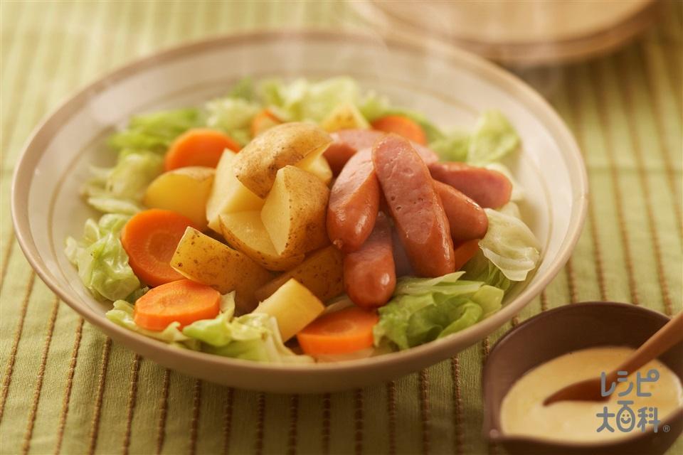 ごろごろポテトとウインナーの菜愛ホットサラダ(粗びきウインナーソーセージ+じゃがいもを使ったレシピ)