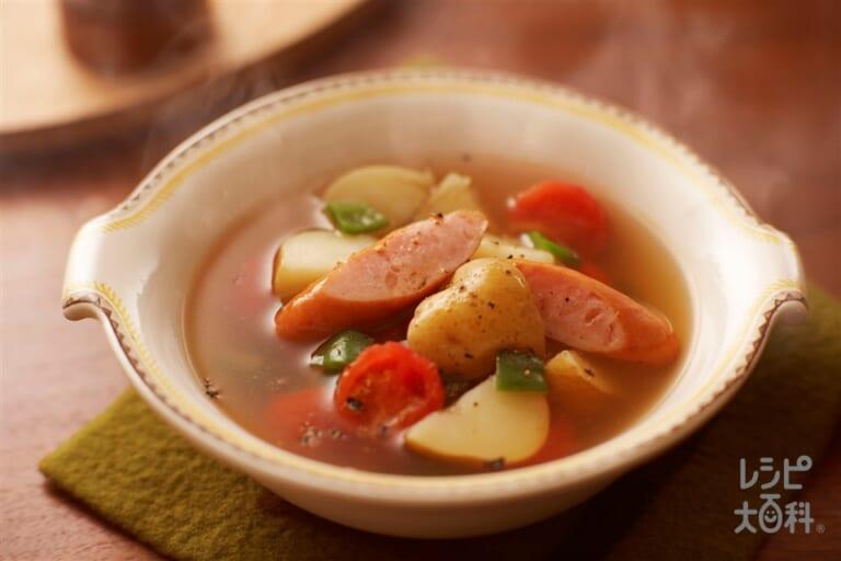 じゃがいもとウインナーの菜愛スープ
