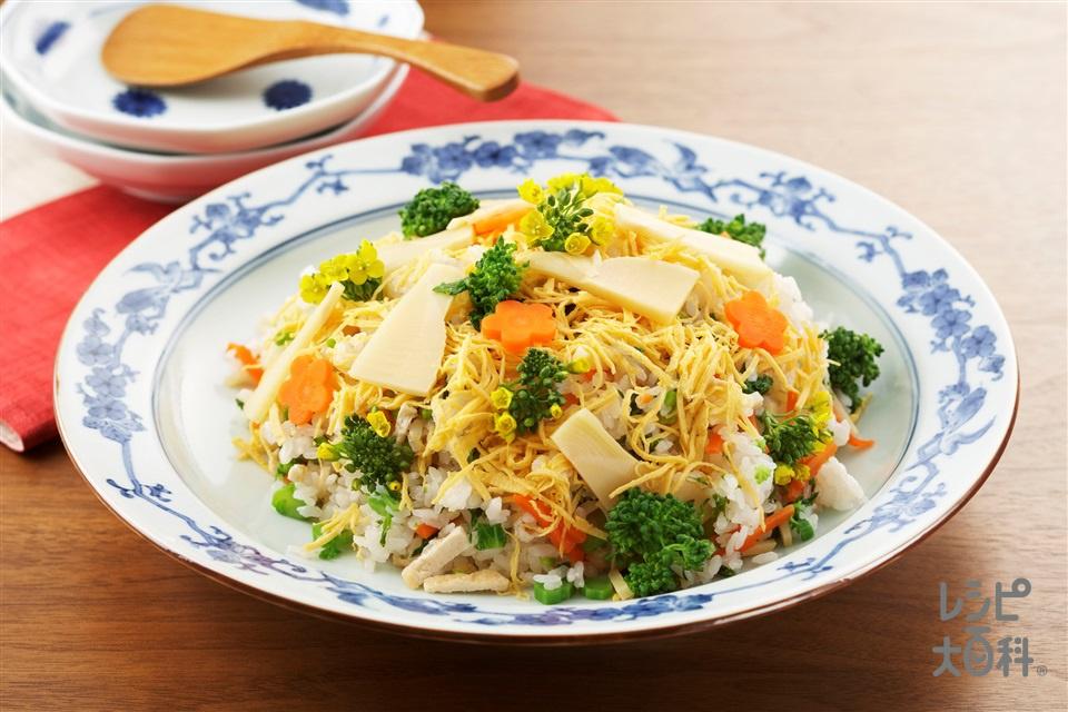 春の野菜ずし(米+ゆでたけのこを使ったレシピ)