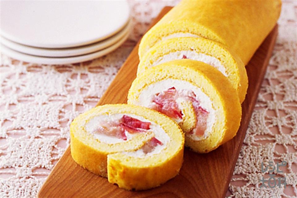 りんごジャムのロールケーキ(りんご+「パルスイート」を使ったレシピ)