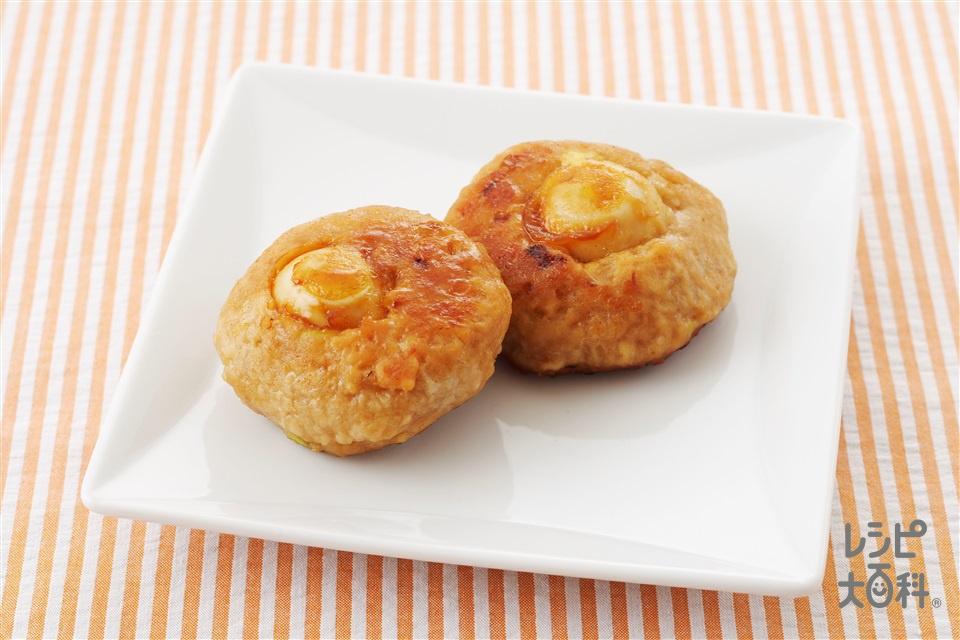 巣ごもりつくね(鶏ひき肉+うずらの卵の水煮を使ったレシピ)