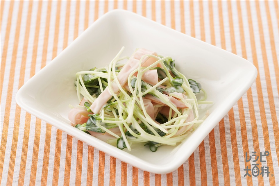 貝割れとハムのサラダ(貝割れ菜+ロースハムを使ったレシピ)