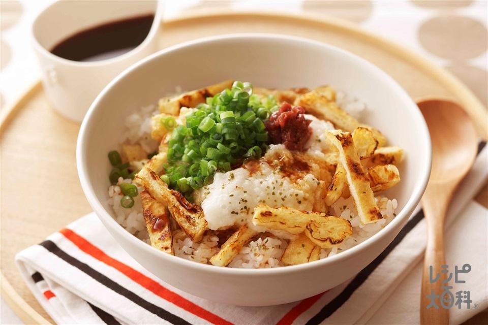梅とろきつね丼(温かいご飯+油揚げを使ったレシピ)