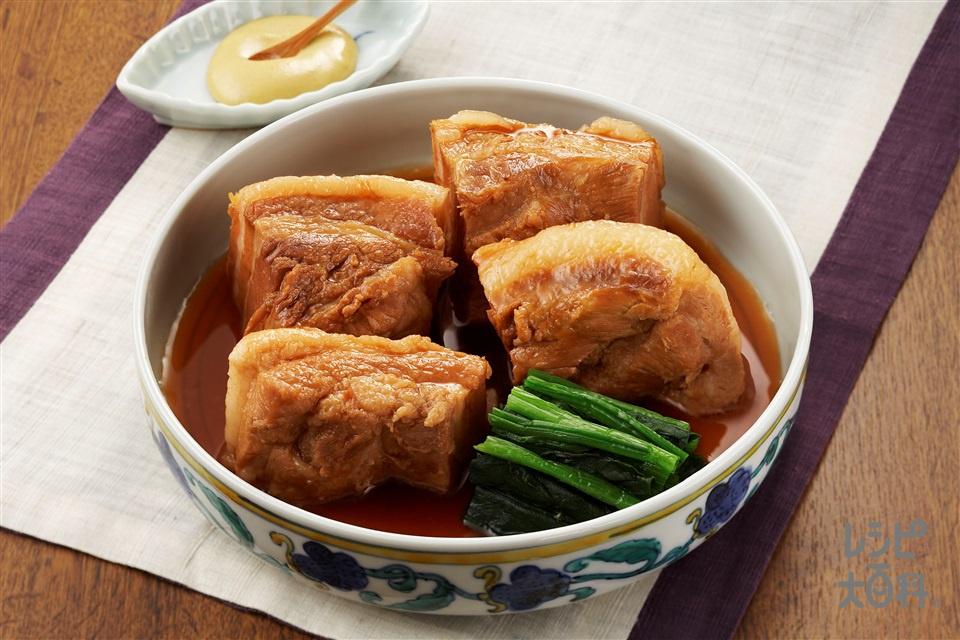 豚の角煮(豚バラかたまり肉+Aしょうがの薄切りを使ったレシピ)