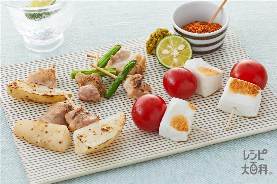 塩焼き鳥(鶏もも肉(皮つき)+ミニトマトを使ったレシピ)