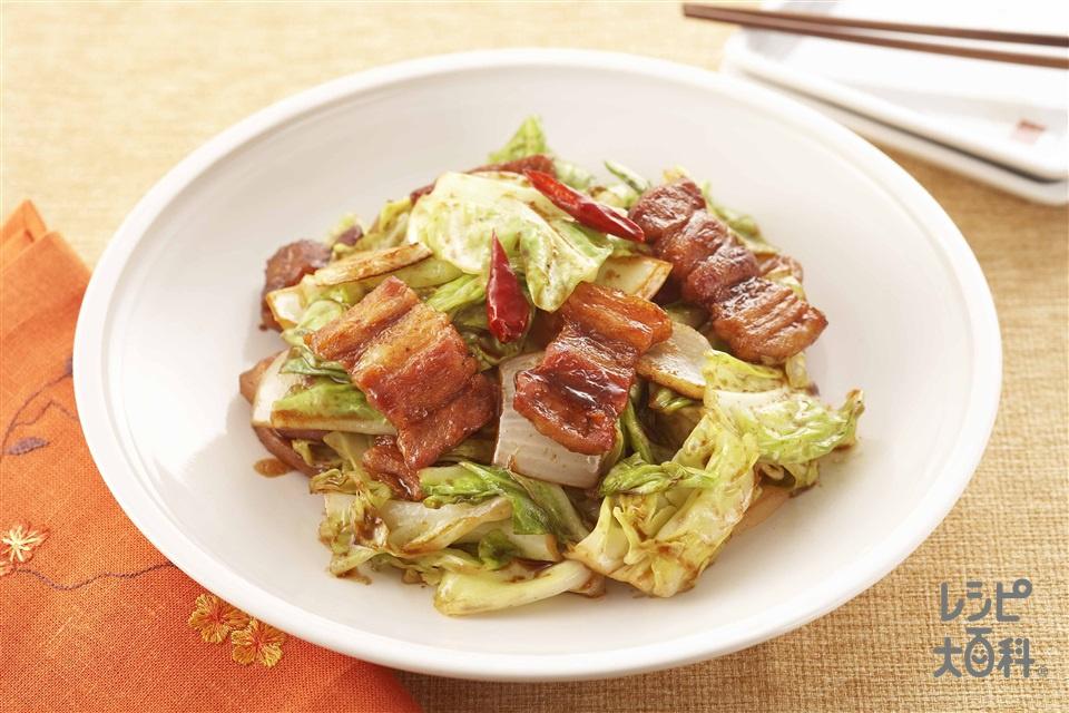 回鍋肉(ホイコーロウ)(キャベツ+「丸鶏がらスープ」を使ったレシピ)