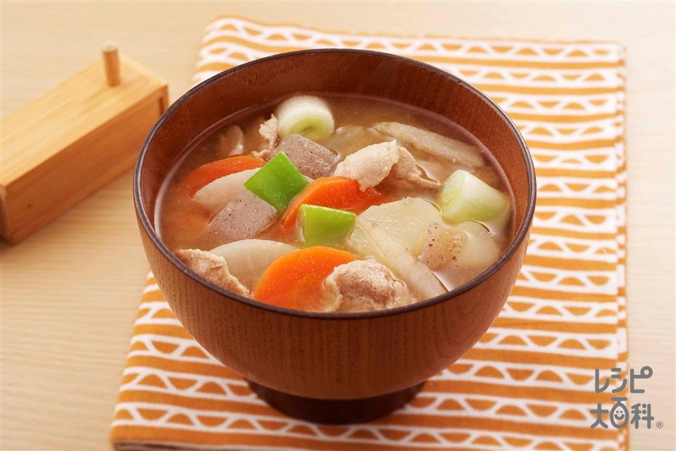 豚汁(豚もも薄切り肉+じゃがいもを使ったレシピ)