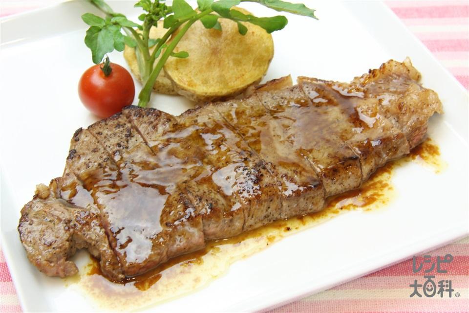ビーフステーキのバターオイスターソース(牛ステーキ用肉+A「瀬戸のほんじお」を使ったレシピ)