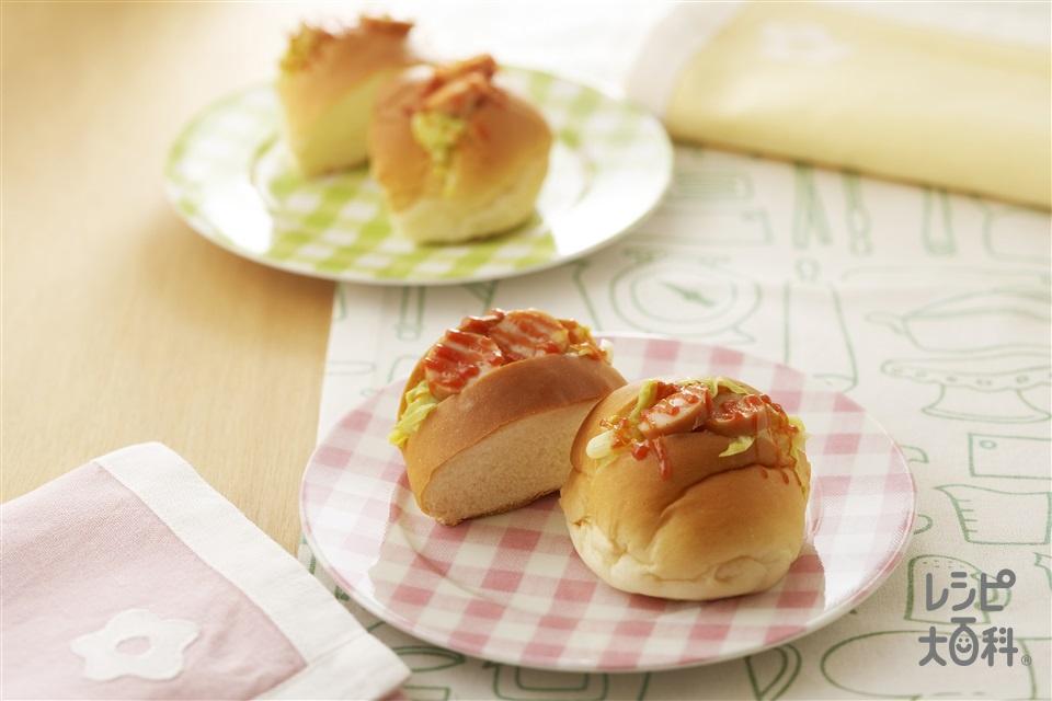キャベツとウインナーのロールパンサンド(ロールパン+キャベツを使ったレシピ)