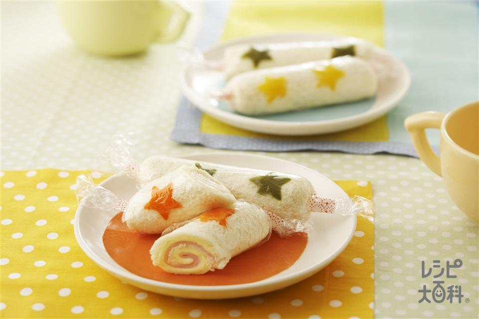 くるくるロールサンド(サンドイッチ用食パン+スライスチーズを使ったレシピ)