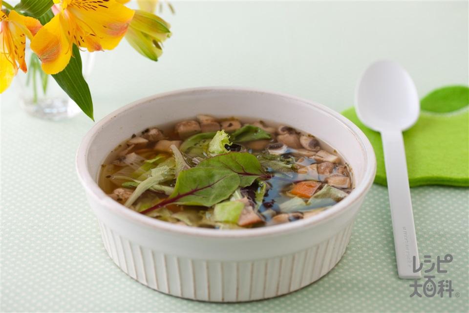 たっぷり野菜のサラダスープ(キャベツ+玉ねぎを使ったレシピ)