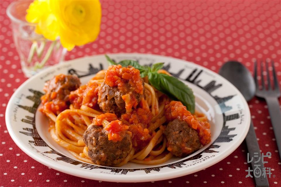 YOME風ミートボールパスタ(スパゲッティ+ホールトマト缶を使ったレシピ)