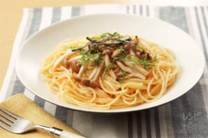 たらことしめじのスパゲッティ