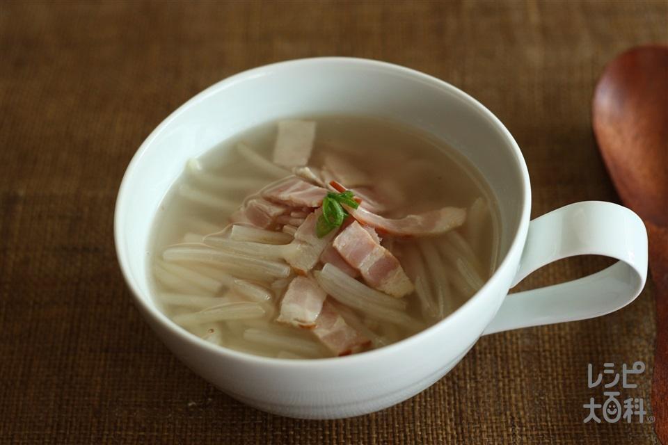 ベーコンともやしの簡単スープ