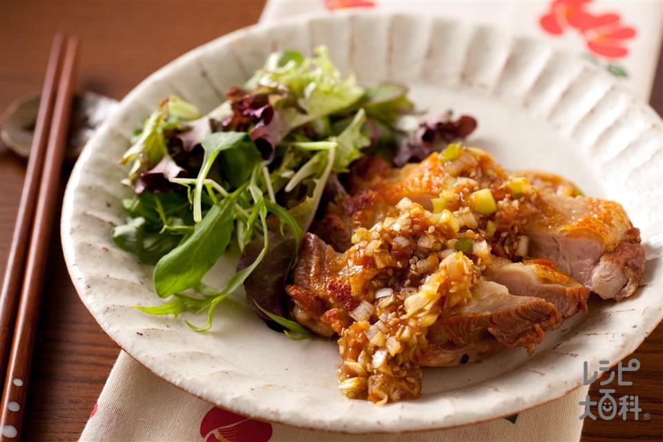 カリカリ鶏肉のうま梅ソース(鶏もも肉+梅干しを使ったレシピ)
