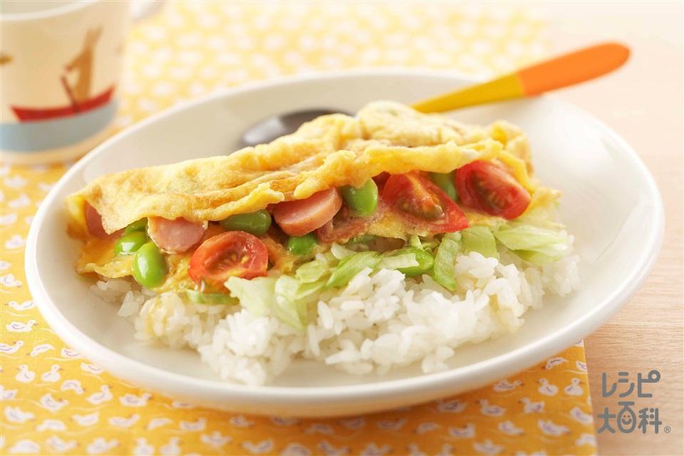 たっぷり野菜のふわたまご飯(ウインナーソーセージ+ミニトマトを使ったレシピ)