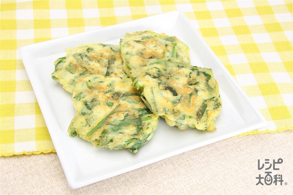 ほうれん草おやつ焼き(ホットケーキミックス+牛乳を使ったレシピ)