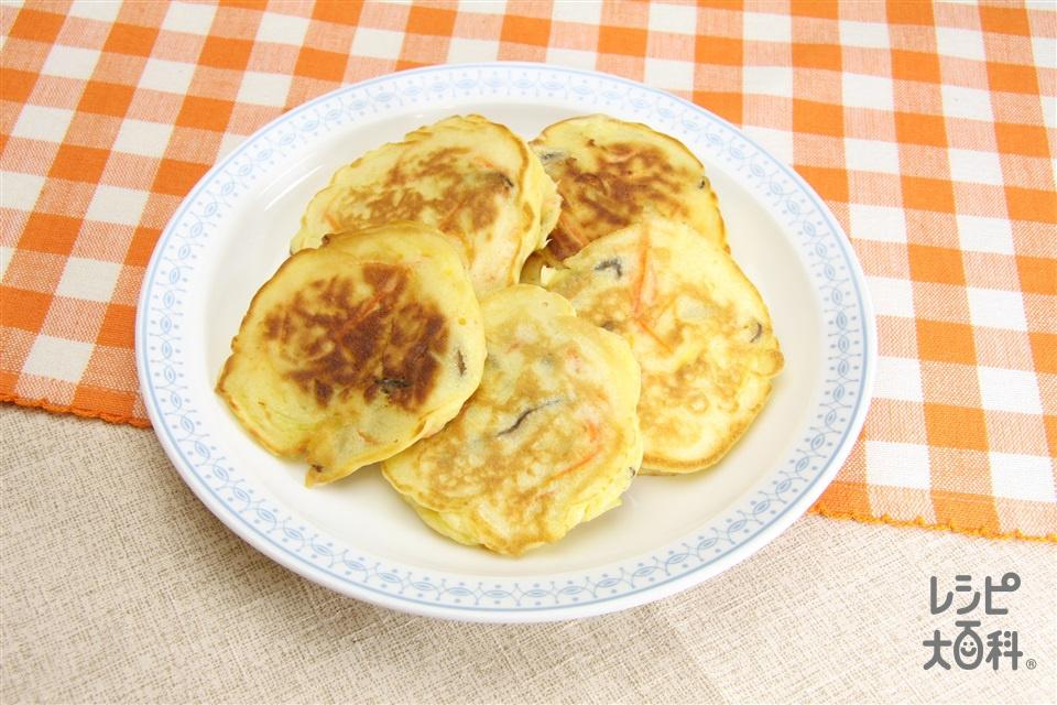 野菜おやき風おやつ焼き(ホットケーキミックス+A牛乳を使ったレシピ)