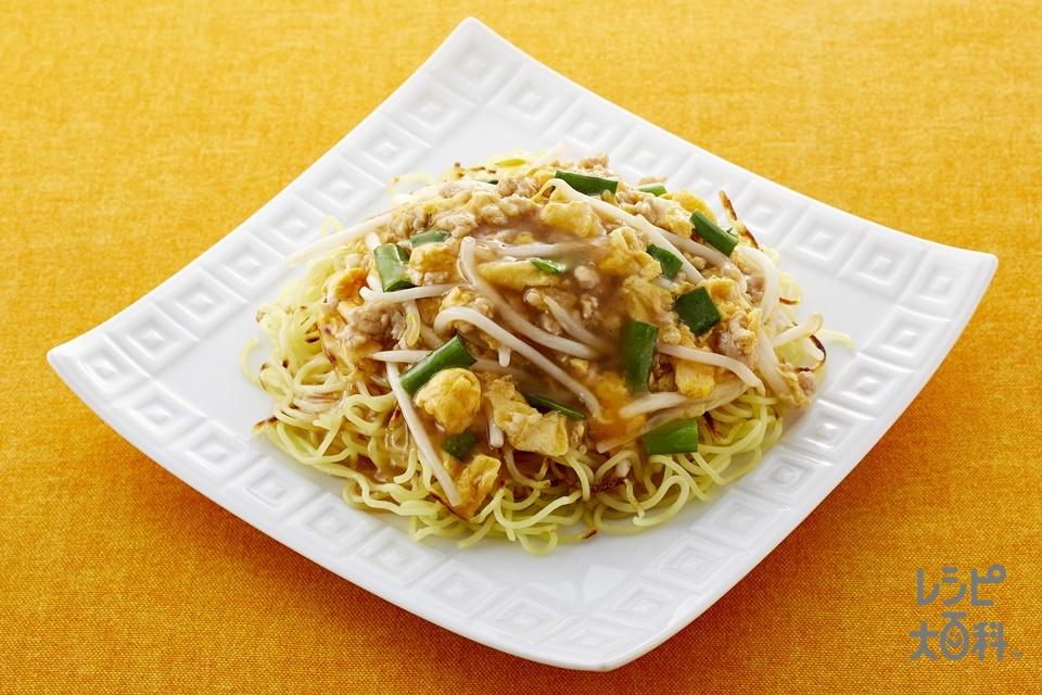 中華風あんかけ焼きそば(中華蒸しめん+鶏ひき肉を使ったレシピ)