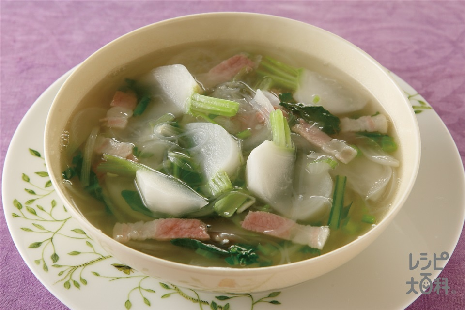 かぶとベーコンのあつあつ春雨スープ(かぶ+玉ねぎを使ったレシピ)