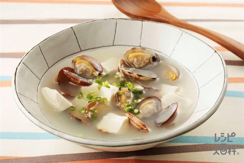 あさりと豆腐のスープ(あさり+絹ごし豆腐を使ったレシピ)