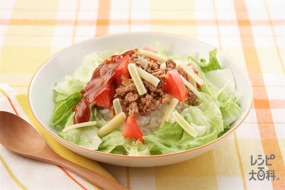 タコライス(トマト+温かいご飯を使ったレシピ)