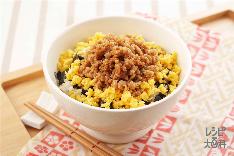 鶏そぼろ丼(鶏ひき肉+「ほんだし」を使ったレシピ)