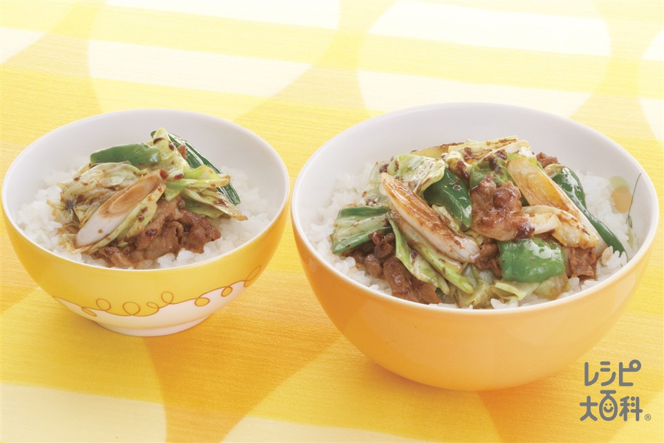 回鍋肉ライス(ご飯+豚バラ薄切り肉を使ったレシピ)