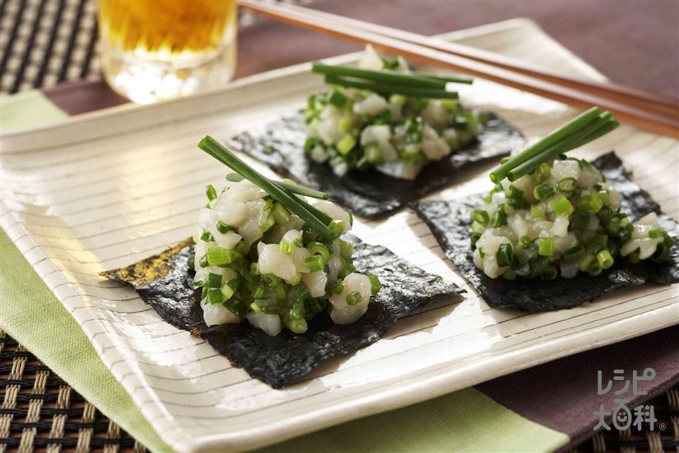 塩ねぎほたて(帆立貝柱(刺身)+小ねぎを使ったレシピ)