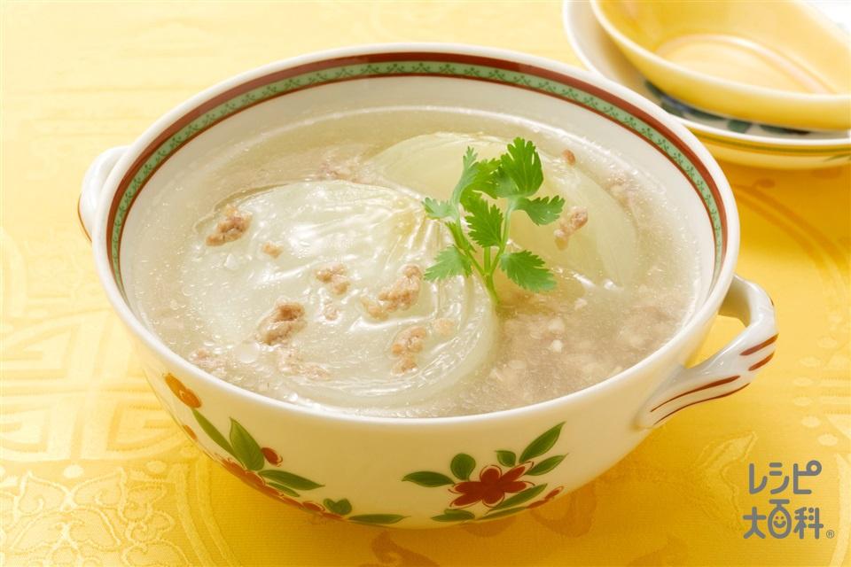 丸ごと玉ねぎのスープ(玉ねぎ+豚ひき肉を使ったレシピ)
