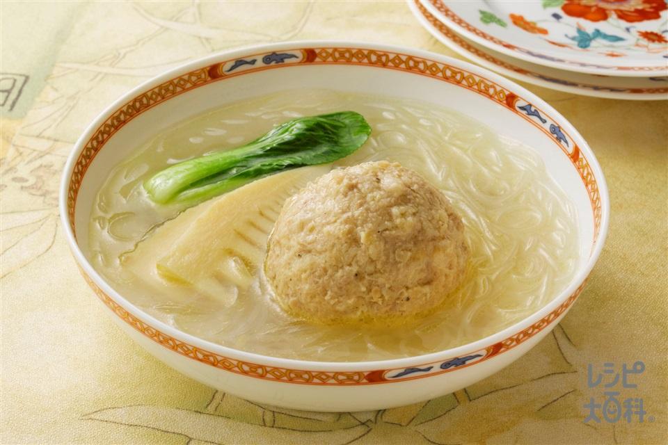 鶏だんごと春雨のスープ煮(鶏ひき肉+春雨(乾)を使ったレシピ)