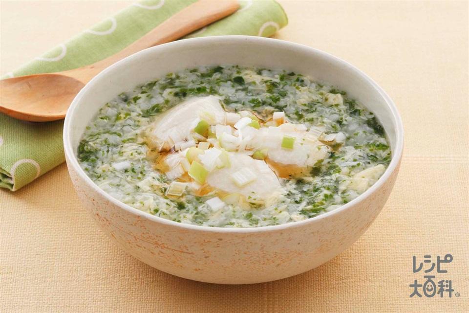 豆腐とのりの卵がゆ(絹ごし豆腐+ねぎのみじん切りを使ったレシピ)