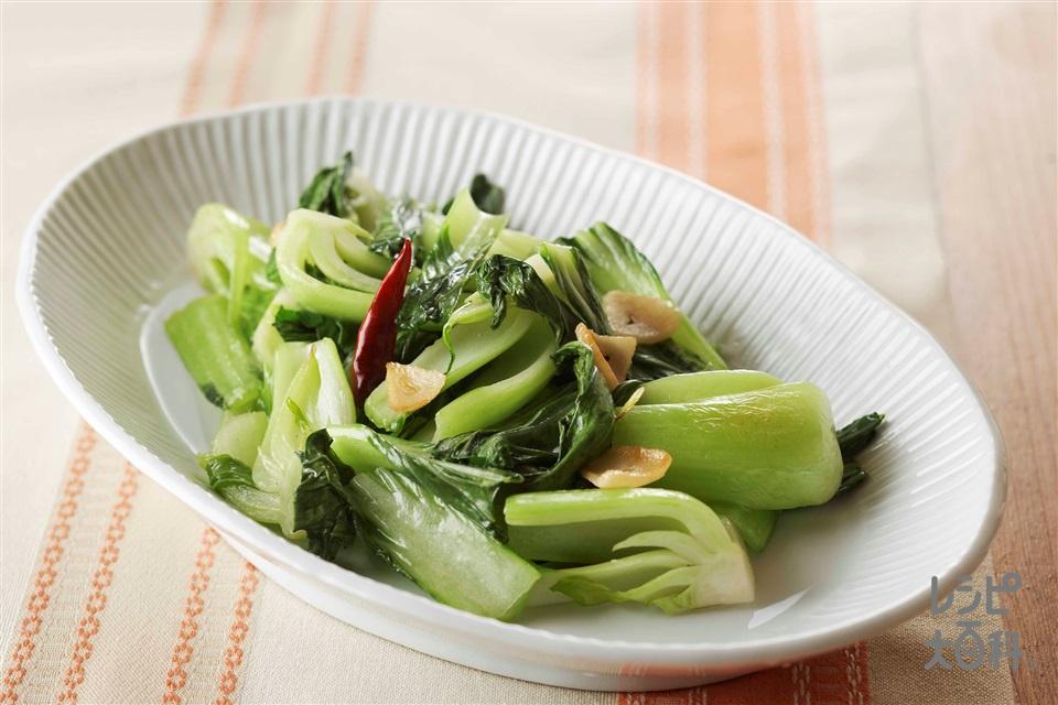 チンゲン菜のにんにく炒め(チンゲン菜+にんにくの薄切りを使ったレシピ)