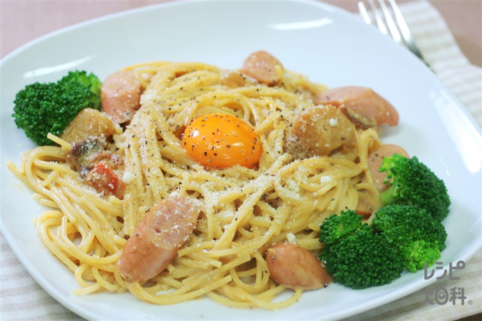 カレーカルボナーラ風パスタ(スパゲッティ+牛乳を使ったレシピ)