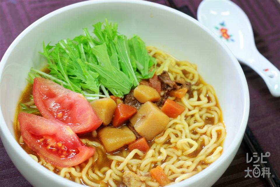 カレーラーメン(中華めん+トマトを使ったレシピ)