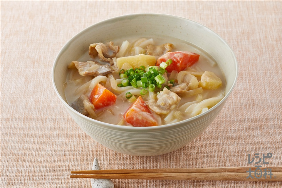 クリーミーカレーうどん(ゆでうどん+片栗粉を使ったレシピ)