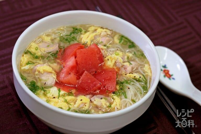 中華風にゅうめんのレシピ 作り方 味の素パーク の料理 レシピサイト レシピ大百科 そうめんやトマトを使った料理