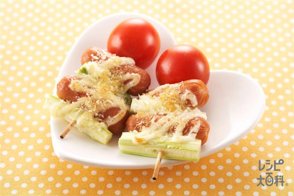 ミニウインナーとアスパラのマヨパン粉焼き(ミニウインナーソーセージ+ミニトマトを使ったレシピ)