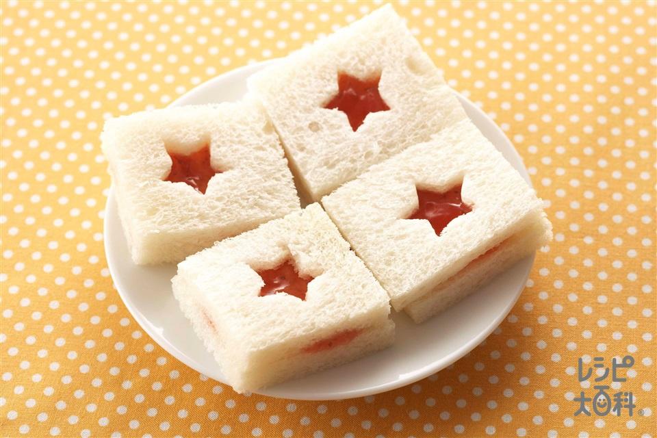型抜きジャムサンドイッチ(サンドイッチ用食パン+いちごジャムを使ったレシピ)