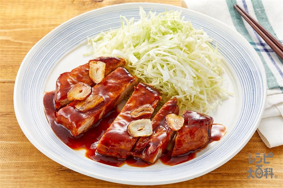 トンテキ(豚ロース肉(厚切り)+にんにくを使ったレシピ)