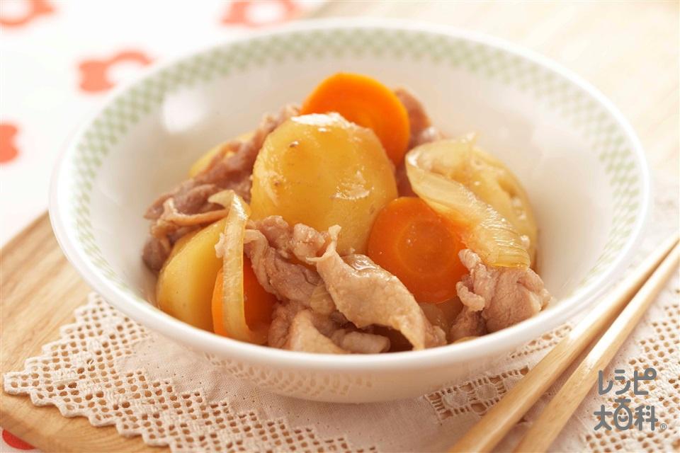 簡単レンチン肉じゃが(豚薄切り肉+じゃがいもを使ったレシピ)