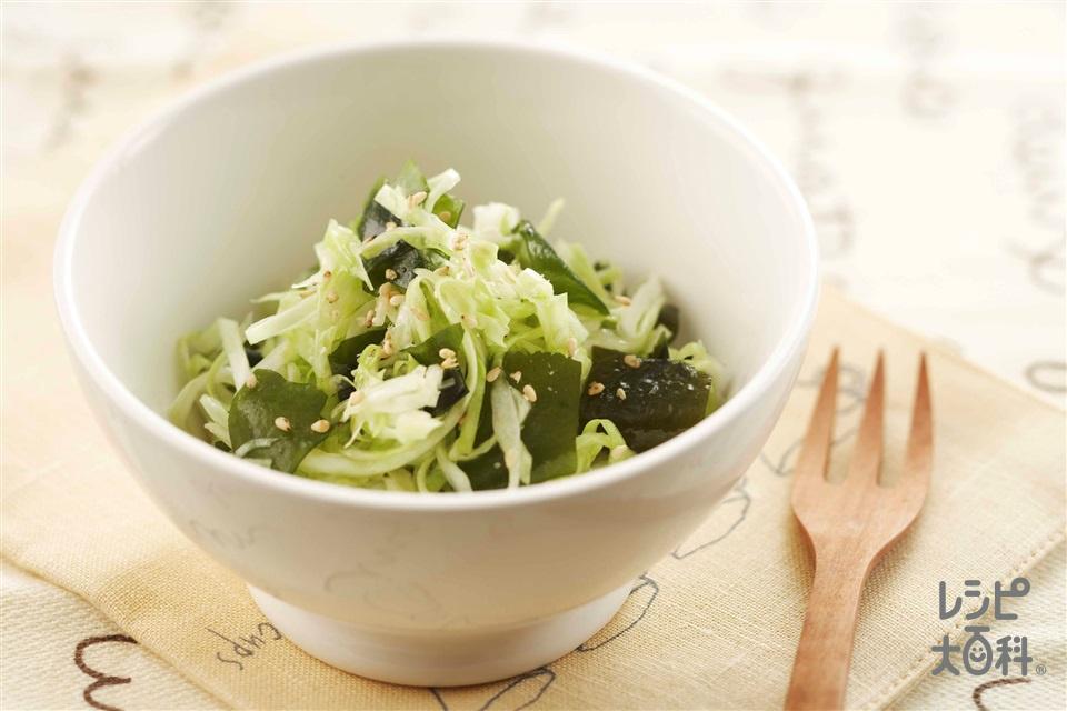 キャベツのサラダ(キャベツ+乾燥カットわかめを使ったレシピ)