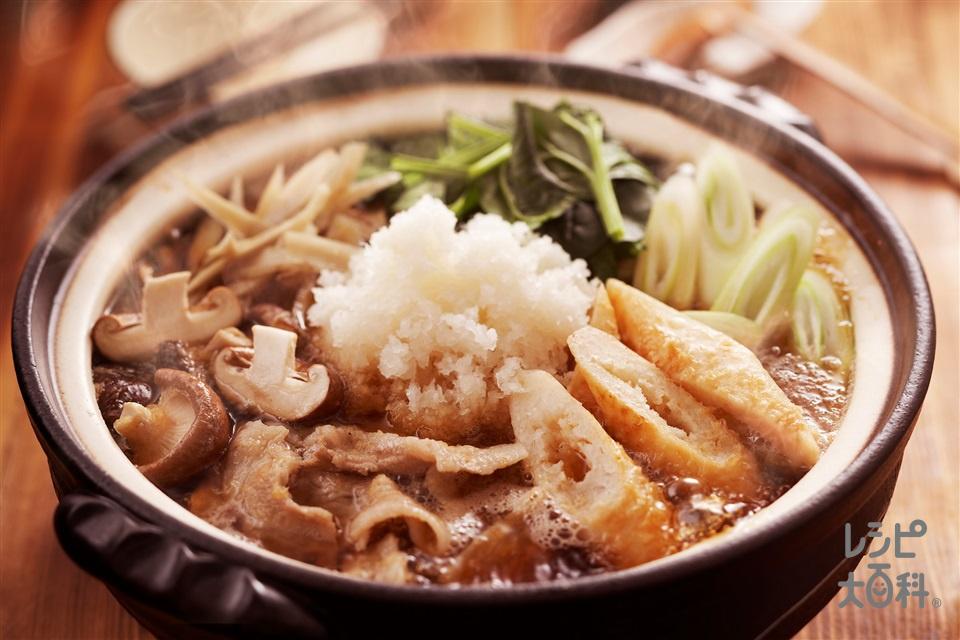 豚肉とほうれん草のみぞれきりたんぽ鍋(豚バラ薄切り肉+ごぼうを使ったレシピ)