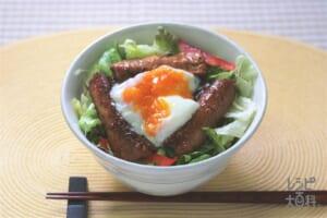 かば焼き温玉丼 ~かば焼き on the サラダ~(ご飯+さんまかば焼き缶を使ったレシピ)