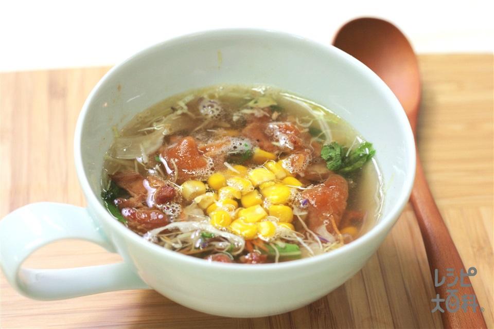 お手軽チキンサラダスープ ~そんなわけで、やきとりすーぷ~(野菜サラダ(市販品)+焼き鳥缶を使ったレシピ)